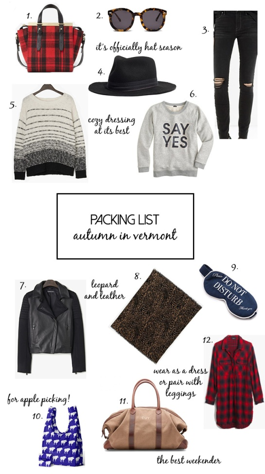 packing list_vermont